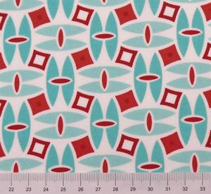 Moda - Daysail - Röda kvadrater på turkost