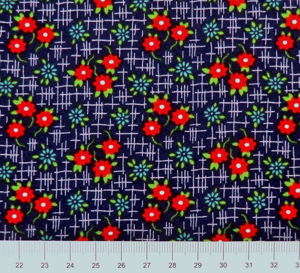 Moda - Daysail - Röda blommor blå botten